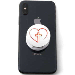 Designs by MyUtopia Shout Out:Cross In Heart - Jesus is in my heart Hinged Phone Grip for Smartphones and Tablets,White,Pop Phone Grip