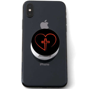 Designs by MyUtopia Shout Out:Cross In Heart - Jesus is in my heart Hinged Phone Grip for Smartphones and Tablets