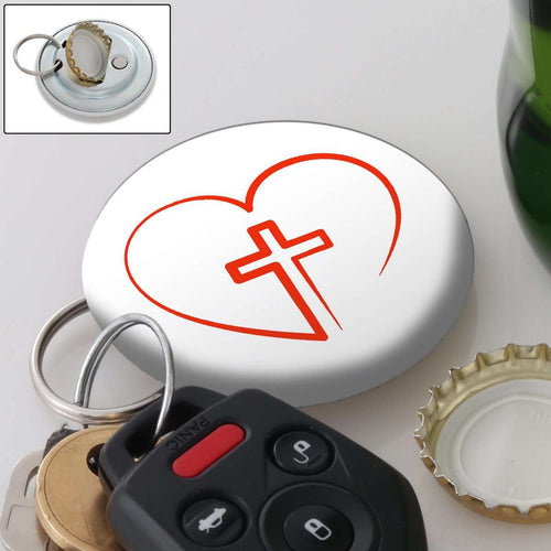 Designs by MyUtopia Shout Out:Cross in Heart - Jesus is in My Heart Magnetic Keychain and Bottle Opener,White,Keychain bottle opener