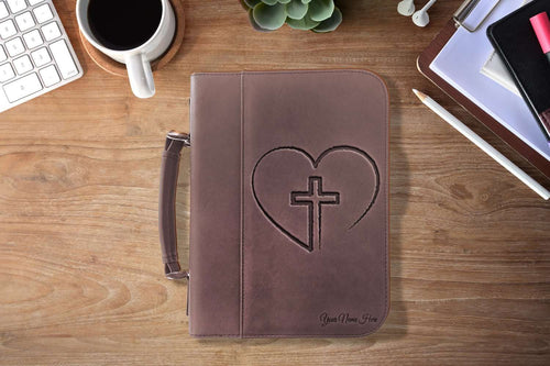 Designs by MyUtopia Shout Out:Cross In Heart Faux Leather Personalized Laser Engraved Bible Cover,Large (7 1/2″ x 10 3/4″) / Dark Brown,Bible Cover