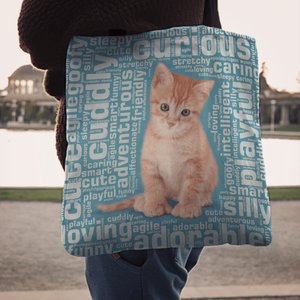 Designs by MyUtopia Shout Out:Curious Kitten Word Cloud Fabric Totebag Reusable Shopping Tote