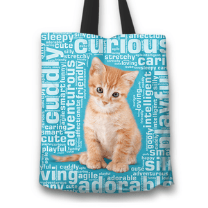 Designs by MyUtopia Shout Out:Curious Kitten Word Cloud Fabric Totebag Reusable Shopping Tote,Blue,Reusable Fabric Shopping Tote Bag