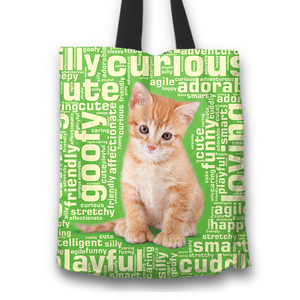 Designs by MyUtopia Shout Out:Curious Kitten Word Cloud Fabric Totebag Reusable Shopping Tote,Green,Reusable Fabric Shopping Tote Bag