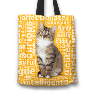 Designs by MyUtopia Shout Out:Curious Kitten Word Cloud Fabric Totebag Reusable Shopping Tote,Gold,Reusable Fabric Shopping Tote Bag