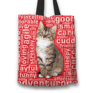 Designs by MyUtopia Shout Out:Curious Kitten Word Cloud Fabric Totebag Reusable Shopping Tote,Red,Reusable Fabric Shopping Tote Bag