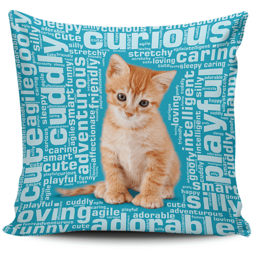 Designs by MyUtopia Shout Out:Curious Kitten Word Cloud Pillowcases,Blue,Pillowcases