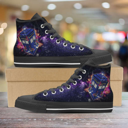 Designs by MyUtopia Shout Out:Custom Doctor Who Fan Art Inspired by the 13th Doctor Canvas Hightop Shoes,Men's / Mens US 5 (EU38) / Black,High Top Sneakers