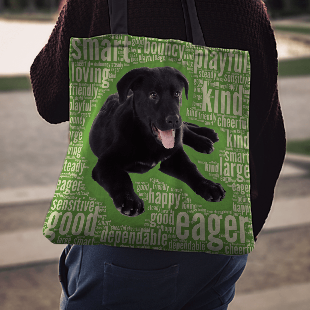 Designs by MyUtopia Shout Out:Cute Black Lab Puppies Fabric Totebag Reusable Shopping Tote
