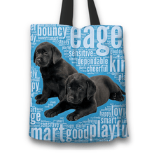 Load image into Gallery viewer, Designs by MyUtopia Shout Out:Cute Black Lab Puppies Fabric Totebag Reusable Shopping Tote,Blue,Reusable Fabric Shopping Tote Bag