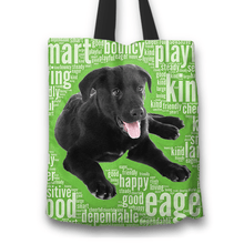 Load image into Gallery viewer, Designs by MyUtopia Shout Out:Cute Black Lab Puppies Fabric Totebag Reusable Shopping Tote,Green,Reusable Fabric Shopping Tote Bag