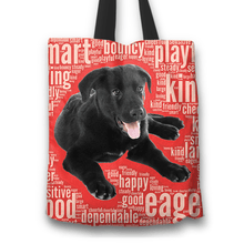Load image into Gallery viewer, Designs by MyUtopia Shout Out:Cute Black Lab Puppies Fabric Totebag Reusable Shopping Tote,Red,Reusable Fabric Shopping Tote Bag