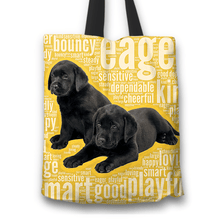 Load image into Gallery viewer, Designs by MyUtopia Shout Out:Cute Black Lab Puppies Fabric Totebag Reusable Shopping Tote,Gold,Reusable Fabric Shopping Tote Bag