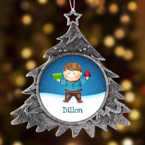 Designs by MyUtopia Shout Out:Cute Boy Personalized Christmas Keepsake Ornament