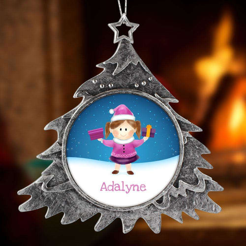 Designs by MyUtopia Shout Out:Cute Girl Personalized Christmas Keepsake Ornament