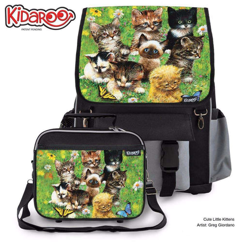 Designs by MyUtopia Shout Out:Cute Little Kittens Backpack And Lunchbox set,Black,Backpacks