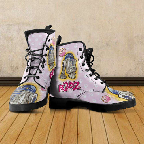 Designs by MyUtopia Shout Out:Cute R2-D2 Droid on Pink Faux Leather 7 Eye Lace-up Boots,Women's / US5 (EU35) / Light Pink,Lace-up Boots