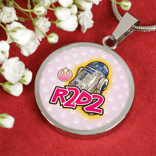 Designs by MyUtopia Shout Out:Cute R2-D2 Droid on Pink Handcrafted Jewelry