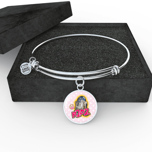 "Designs by MyUtopia Shout Out:Cute R2-D2 Droid on Pink Handcrafted Jewelry,Wire Bracelet 7"" - 9"" / Silver/Baby Pink,Necklace"