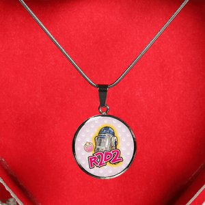 "Designs by MyUtopia Shout Out:Cute R2-D2 Droid on Pink Handcrafted Jewelry,Necklace w/ 18""- 22"" chain / Silver/Baby Pink,Necklace"