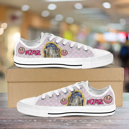 Designs by MyUtopia Shout Out:Cute R2-D2 Droid on Pink Lowtops,Men's / Mens US5 (EU38),Lowtop Shoes