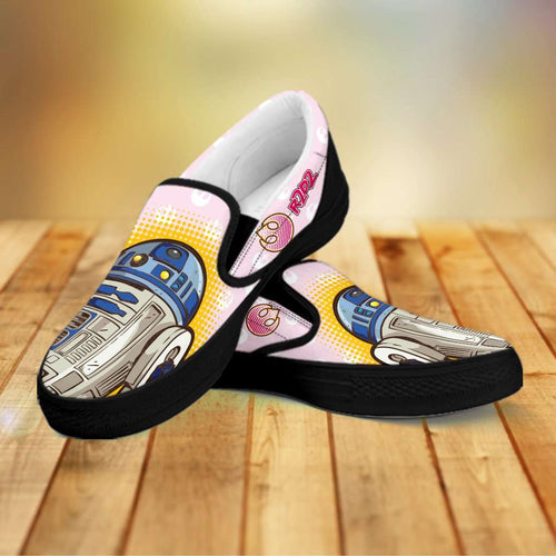 Designs by MyUtopia Shout Out:Cute R2-D2 Droid on Pink Slip-on Shoes,Men's / Mens US8 (EU40) / Pink,Slip on sneakers
