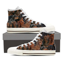 Load image into Gallery viewer, Designs by MyUtopia Shout Out:Dachshund Collage Canvas High Top Shoes Mens,Mens US 8 (EU40) / Brown,High Top Sneakers