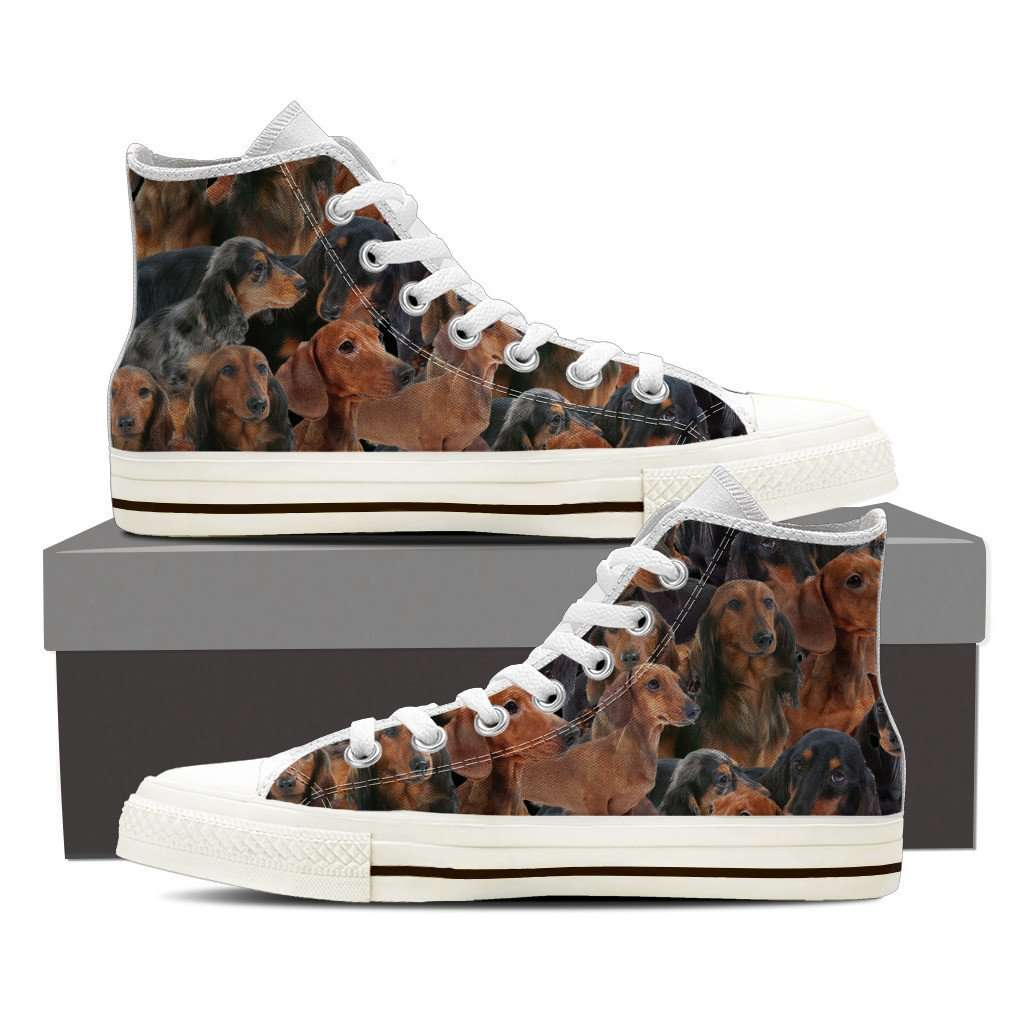 Designs by MyUtopia Shout Out:Dachshund Collage Canvas High Top Shoes Mens,Mens US 8 (EU40) / Brown,High Top Sneakers