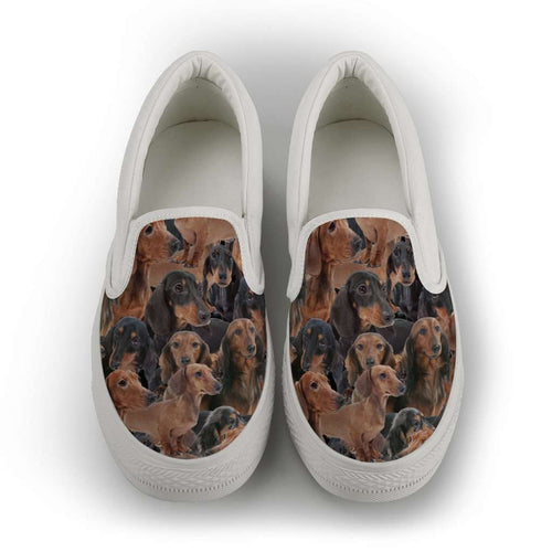 Designs by MyUtopia Shout Out:Dachshund Ladies Slip-on Shoes,Womens / US6 (EU36) / Brown,Slip on sneakers