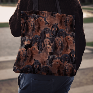 Designs by MyUtopia Shout Out:Dachshund Lovers Fabric Totebag Reusable Shopping Tote