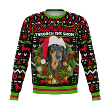 Load image into Gallery viewer, Designs by MyUtopia Shout Out:Dachshund Through The Snow - Funny Christmas Fleece Lined Fashion Sweatshirt,XS / Multi,Fashion Sweatshirt - AOP