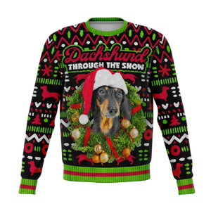Designs by MyUtopia Shout Out:Dachshund Through The Snow - Funny Christmas Fleece Lined Fashion Sweatshirt,XS / Multi,Fashion Sweatshirt - AOP