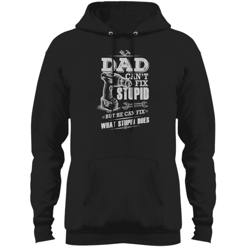 Designs by MyUtopia Shout Out:Dad Can't Fix Stupid Core Fleece Pullover Hoodie,Jet Black / S,Sweatshirts