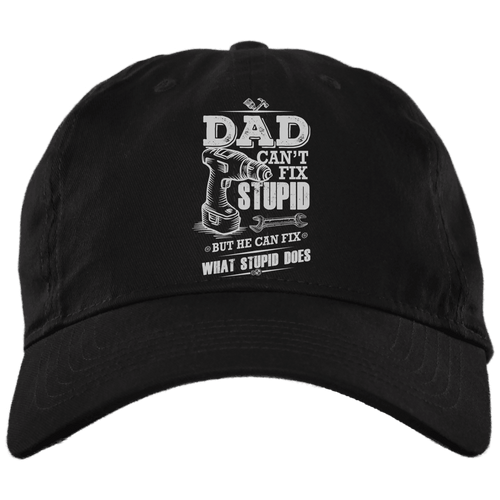 Designs by MyUtopia Shout Out:Dad Can't Fix Stupid Embroidered Twill Unstructured Dad Baseball Cap,Black / One Size,Hats
