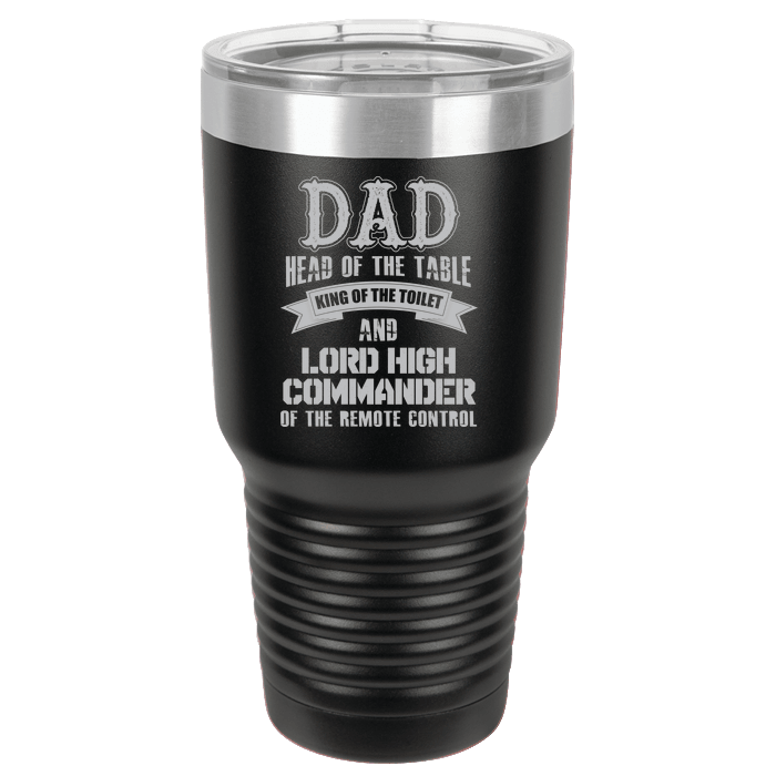 Designs by MyUtopia Shout Out:Dad Head of the Table ... Engraved Polar Camel 30 oz Insulated Double Wall Steel Tumbler Travel Mug,Black,Polar Camel Tumbler