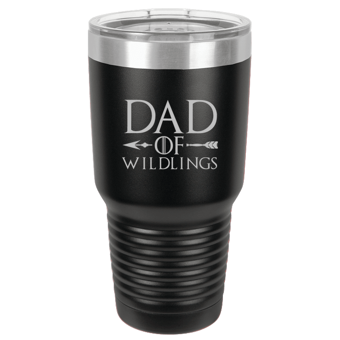 Designs by MyUtopia Shout Out:Dad of Wildlings Engraved Polar Camel 30 oz Insulated Double Wall Steel Tumbler Travel Mug,Black,Polar Camel Tumbler