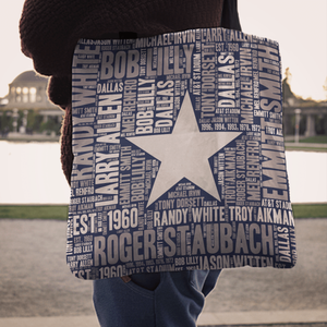 Designs by MyUtopia Shout Out:Dallas Word Cloud Fabric Totebag Reusable Shopping Tote