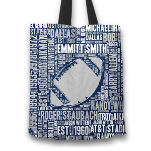 Designs by MyUtopia Shout Out:Dallas Word Cloud Fabric Totebag Reusable Shopping Tote,Football,Reusable Fabric Shopping Tote Bag