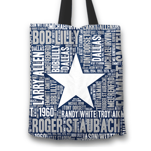 Designs by MyUtopia Shout Out:Dallas Word Cloud Fabric Totebag Reusable Shopping Tote,Star,Reusable Fabric Shopping Tote Bag