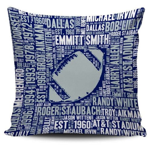 Designs by MyUtopia Shout Out:Dallas Word Cloud Pillowcases,Football / Blue/White,Pillowcases