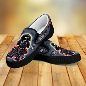 Designs by MyUtopia Shout Out:Darth Vader Slip-on Shoes,Men's / Mens US8 (EU40) / Black,Slip on sneakers