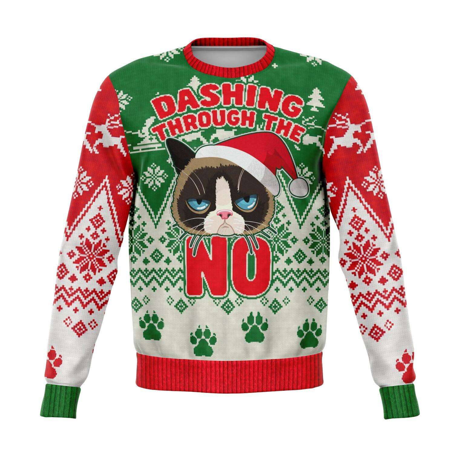 Designs by MyUtopia Shout Out:Dashing Through The NO Funny Christmas Fleece Lined Fashion Sweatshirt,XS / Multi,Fashion Sweatshirt - AOP