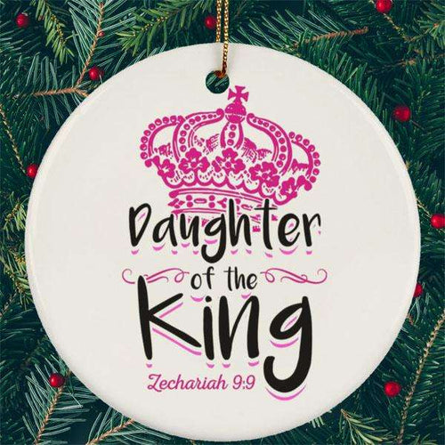 Designs by MyUtopia Shout Out:Daughter of the King Ceramic Circle Ornament,White / One Size,Christmas Ornament