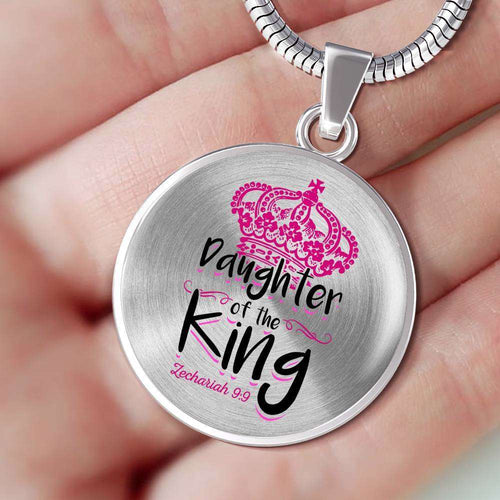 Designs by MyUtopia Shout Out:Daughter of the King Christian Faith Personalized Engraved Keepsake Necklace,Stainless Steel Silver / No,Necklace
