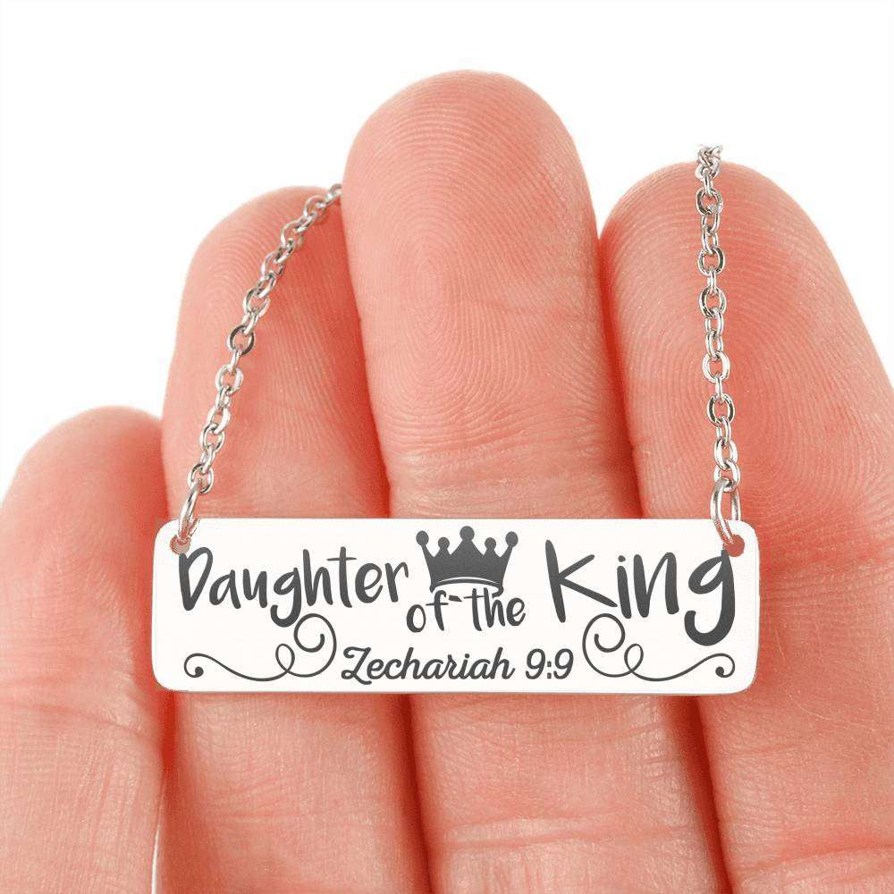 Designs by MyUtopia Shout Out:Daughter Of The King Engraved Personalized Horizontal Bar Necklace,316L Stainless Steel / No,Necklace