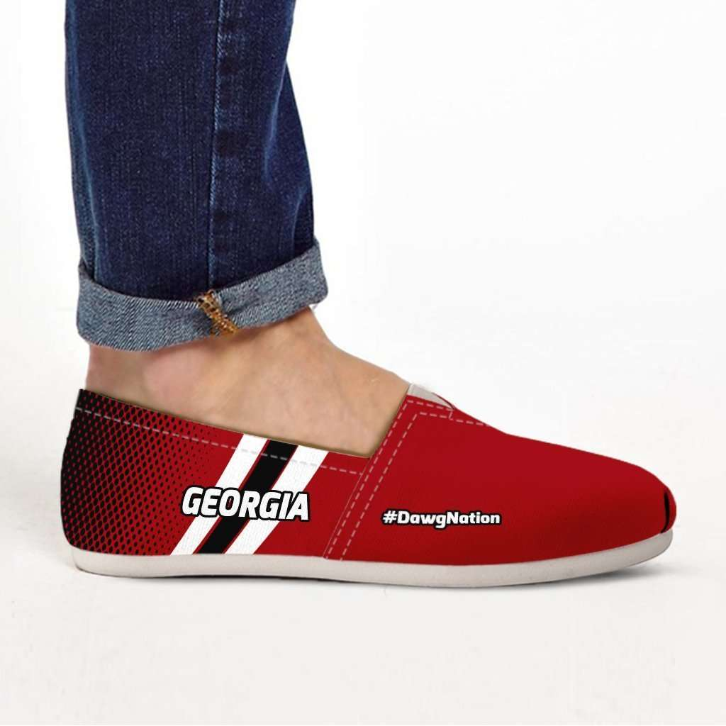 Designs by MyUtopia Shout Out:#DawgNation Georgia Casual Canvas Slip on Shoes Women's Flats,US6 (EU36) / Red/Black/White,Slip on Flats