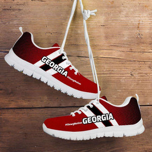 Designs by MyUtopia Shout Out:#DawgNation Georgia Fan Running Shoes,Mens US5 (EU38) / Red/Black/White,Running Shoes