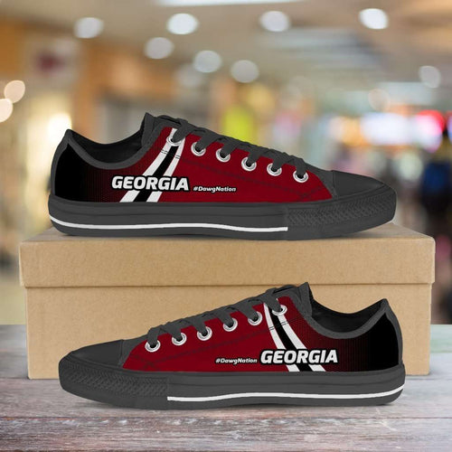 Designs by MyUtopia Shout Out:#DawgNation Georgia Lowtop Shoes,Men's / Mens US5 (EU38) / Red/Black/White,Lowtop Shoes