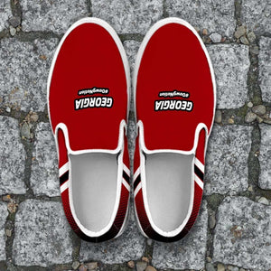 Designs by MyUtopia Shout Out:#DawgNation Georgia Slip-on Shoes,Men's / Mens US8 (EU40) / Red/Black/White,Slip on sneakers