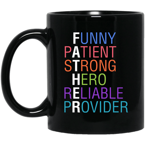Designs by MyUtopia Shout Out:Descriptions of Father Anagram 11 oz. Ceramic Coffee Mug - Black,Black / One Size,Ceramic Coffee Mug