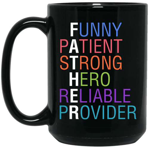 Designs by MyUtopia Shout Out:Descriptions of Father Anagram 15 oz. Ceramic Coffee Mug - Black,Black / One Size,Ceramic Coffee Mug